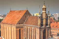 Old town skyline - aerial view from town hall tower. The medieva Royalty Free Stock Photo