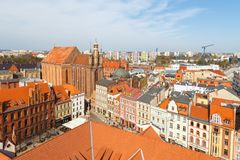 Old town skyline - aerial view from town hall tower, Torun, Poland. Torun, Poland- 05 April, 2014: Old town skyline - aerial view from town hall tower. The Royalty Free Stock Photography