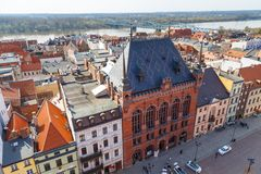 Old town skyline - aerial view from town hall tower, Torun, Poland. Torun, Poland- 05 April, 2014: Old town skyline - aerial view from town hall tower. The Stock Photos