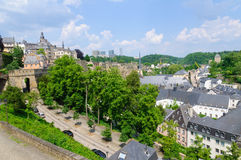 Old town and Skyscraper of Kirchberg district in the City of Luxembourg Stock Photo