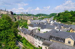Old town and Skyscraper of Kirchberg district in the City of Luxembourg Royalty Free Stock Photos