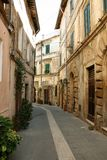 The old town of Sorano. Street in the old town of Sorano in Tuscany, Italy Royalty Free Stock Images