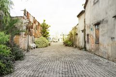 The old town in south of Thailand with sunlight background stock photo