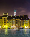 Old town sqare in Warsaw. At night in Poland Stock Photography