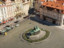 Old Town Square. Of Prague from the top of the tower of City Hall on a sunny morning Stock Image