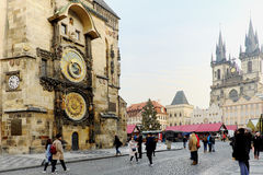 Old Town Square with the Astronomical Clock in Prague Royalty Free Stock Photo