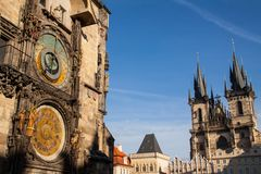 Old town square and astronomical clock in Prague Royalty Free Stock Photo