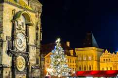The Old Town Square with Astronomical Clock at winter night in the center of Prague City Royalty Free Stock Images