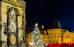 The Old Town Square with Astronomical Clock at winter night in the center of Prague City Stock Images