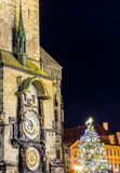 The Old Town Square with Astronomical Clock at winter night in the center of Prague City Royalty Free Stock Image