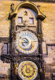 The Old Town Square with Astronomical Clock at winter night in the center of Prague City Stock Photography
