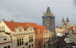 Old Town Square with Christmas market in Prague Royalty Free Stock Photography