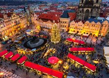 Old Town Square and Christmas market in Prague. Stock Photo