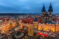 Old Town Square and Christmas market in Prague. Stock Image