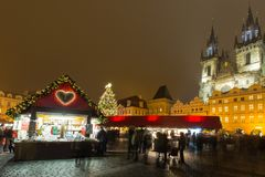 The Old Town Square at Christmas time. The Old Town Square at Christmas time in the center of winter Prague Royalty Free Stock Photography