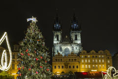 Old Town Square at Christmas time, Prague, Czech Republic Royalty Free Stock Photos