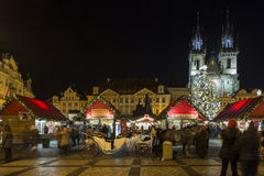 Old Town Square at Christmas time, Prague, Czech Republic Stock Photo