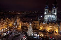 Old Town Square with Christmas Tree, Prague, Czech Republic Stock Photos