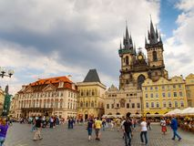 Old Town Square and Church of Our Lady before Tyn in Prague Stock Photos