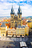 Old town square and Church of Virgin Maria Before Tyn, Prague, Czech republic Stock Photos
