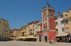 Old town Square with Clock Tower Rovinj  Istria Croatia. Royalty Free Stock Photography