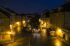 Old town square at dusk shot from aerial high vintage point, Prague, Czech Republic. royalty free stock images