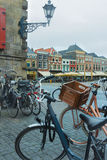 Old town square or Dutch Markt with bicycle parking lot in Delft Netherlands Stock Images
