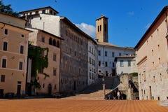 Old town square in Spoleto stock image