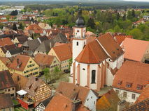 Town square Hilpoltstein. Aerial image of the historic provincial town Hilpoltstein with its church at the market square (in Bavaria, Germany&#x29 Royalty Free Stock Images