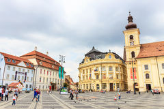 Old Town Square in the historical center of Sibiu Stock Images