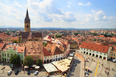 Old Town Square in the historical center of Sibiu was built in the 14th century, Romania Stock Photo
