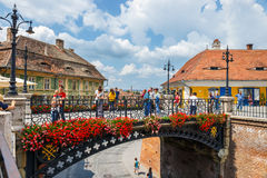 Old Town Square in the historical center of Sibiu was built in the 14th century, Romania. Sibiu, Romania - July 19, 2014: Old Town Square in the historical Stock Image