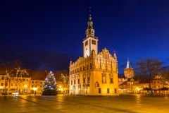 Old town square with historical town hall in Chelmno. At night, Poland Royalty Free Stock Photos