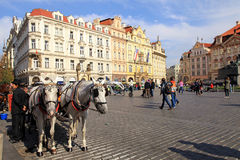 Old Town square with horse drawn carriage in Prague Stock Photo