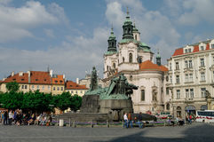 Old Town Square with Jan Hus Monument, Prague, Czech Republic. Royalty Free Stock Image