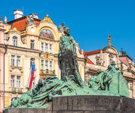 Old Town Square, Jan Hus monument Stock Photos
