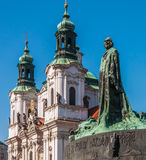 Old Town Square, Jan Hus monument Stock Photography