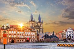 Old Town Square, Kinsky Palace and Church of Our Lady before Tyn at sunset stock photos