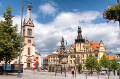 Old town square in Kladno city near Prague, Czech Republic, Europe Royalty Free Stock Images