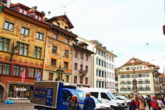 Old town square Lucerne Switzerland Stock Photos