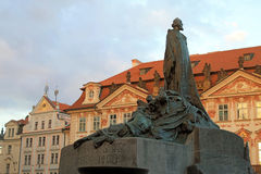 Old Town square and monument of Jan Hus in Prague, Czech Republi Stock Photo
