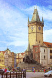 Old Town Square, monument of Jan Hus, Prague Stock Images