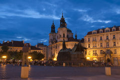 The Old Town Square at night in the center of Prag. Ue,Czech Republic stock photography