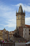 Old Town Square, The old town hall and monument of Jan Hus Royalty Free Stock Images
