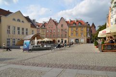 The Old Town Square in Olsztyn (Poland). Townhouses on the old town square in Olsztyn. Photo taken September 29, 2014 Stock Image
