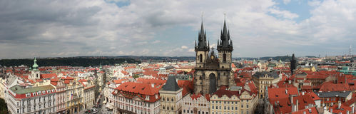 Old Town Square panorama. With church of Our Lady before Tyn Stock Photos