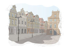Old town square in Poland. Vector illustration Royalty Free Stock Image
