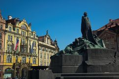 Old Town Square, Prague. Statue of Jan Hus in old Town Square, Prague Czech republic royalty free stock photo