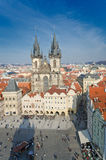 Old Town Square in Prague, aerial view to church Stock Image
