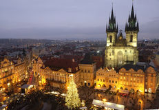 The Old Town Square in Prague during Christmas holidays Stock Photography